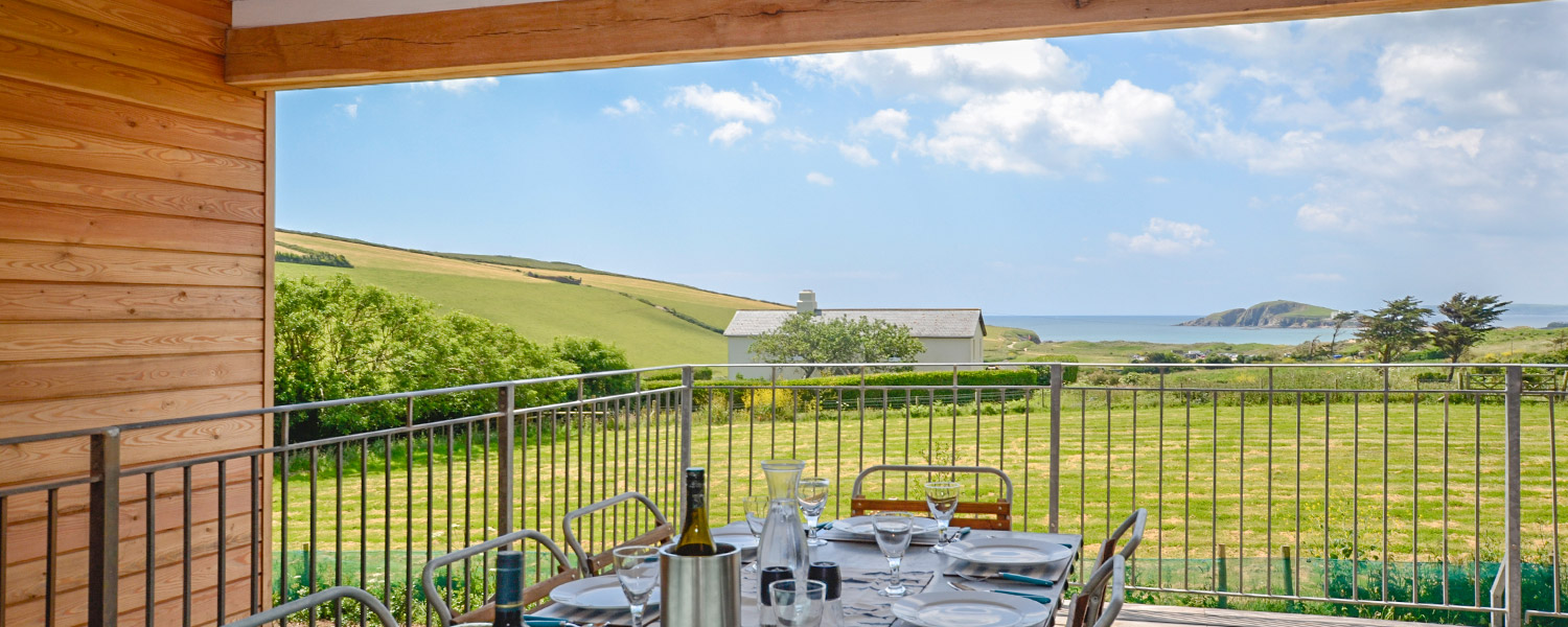 View of Burgh Island from the outdoor dining area